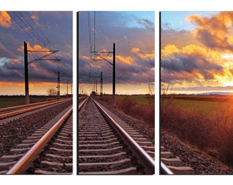 "Sunset, Rail Road Tracks, Wall Art, Framed, 3-Panel, Canvas Wall Art, 30""H x 42""W x 1""D, Gallery Wrap"