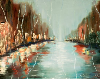 Rainy city street painting, abstract citysape oil painting, night water reflection, FREE US SHIPPING