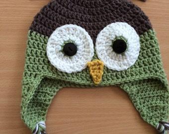 Crochet Owl Hat - 6+ child size
