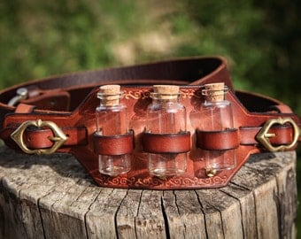 Phial holder. Leather holster with phials