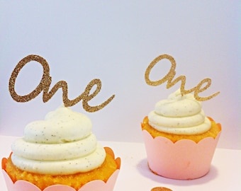 Gold Glitter One Cupcake Toppers - party supplies - cake decorations - first birthday - cake topper