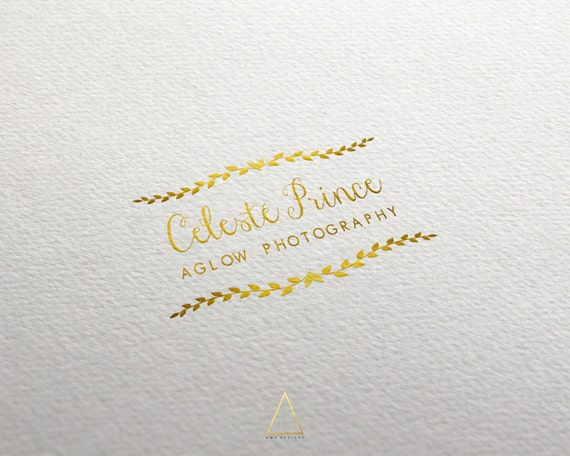 Logo design premade gold calligraphy by awadesigns on