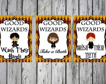 Harry Potter Bathroom Themed Prints (8x10)- Harry Potter Bathroom, Good Wizards Quote, Hermione, Ron, Good Wizards Wash their hands