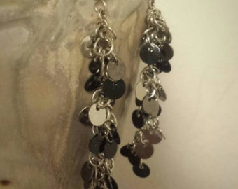 Black and Silver Cluster Earrings