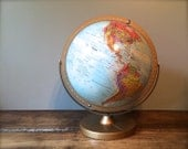 Vintage Mid-Century World Globe, Replogle World Classic Color Topographical Map