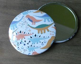Dinosaur Pocket mirror/ Dinosaur compact mirror/ travel mirror/ gift for her