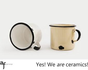 """The """"I am a Ceramic"""" Handmade Mug (Pair -  One White and One Cream)"""