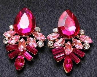 Pink  Statement earrings - Pink vintage looking earrings - Pink Earrings
