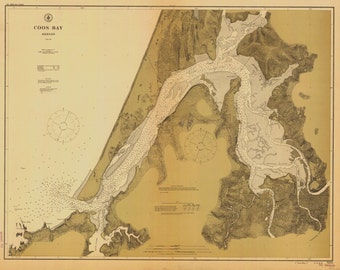 Coos Bay Map - Oregon Historical Chart 1912