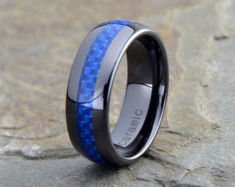 Ceramic Wedding Band, Mens Ring, Mens Wedding Bands, Custom Made, Rings, Blue Carbon Fiber, 8mm, Mans, Anniversary, His, Set, Size, Women