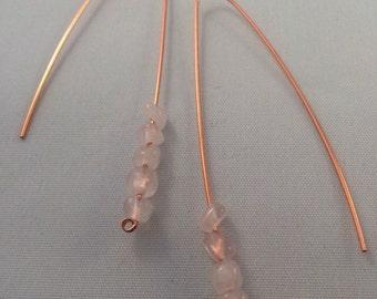 Copper long drop earrings
