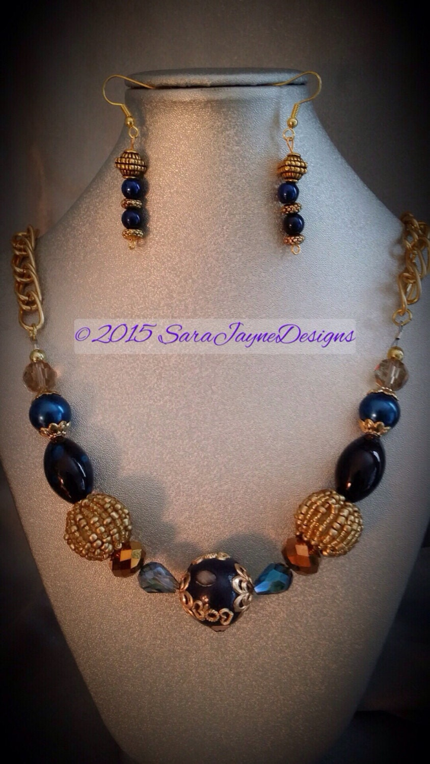 navy blue and gold necklace set