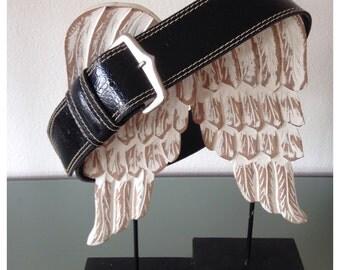 Printed leather black belt high vintage 90