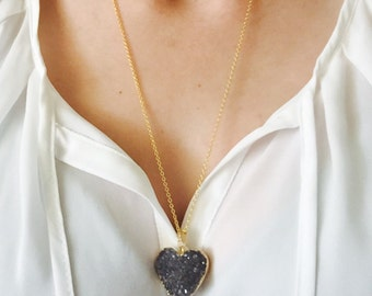 Druzy Heart Necklace, Gold Geode Druzy Necklace, Boho Chic Necklace