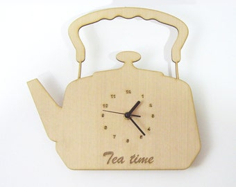 "Wooden wall clock - "" TEA KETTLE """