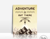 Adventure is out there, Nursery Art Print, Wall Decor, Feathers, Children's Decor, Gallery Wall Art, Home Decor, Mountains