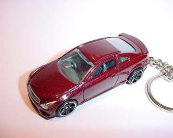 3D Infiniti G37 custom keychain by Brian Thornton keyring key chain finished in Dark Red color trim black wheels