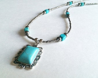 Turquoise necklace, beaded necklace, vintage jewelry, vintage pendant, silver necklace, handmade jewelry, unique jewelry,
