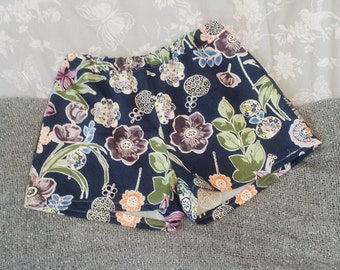 Handmade Navy blue floral high waisted shorts. Size 10/12 only.