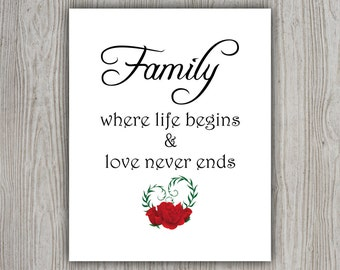 Family Love Quotes, Printable Wall Art Decor, Love Poster, Family Quote, Printable Wall Decor, Modern Poster INSTANT DOWNLOAD