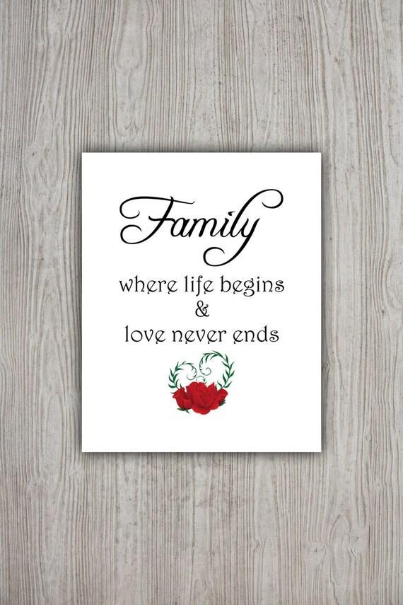Printable Family Wall Decor : Family love quotes printable wall art decor poster