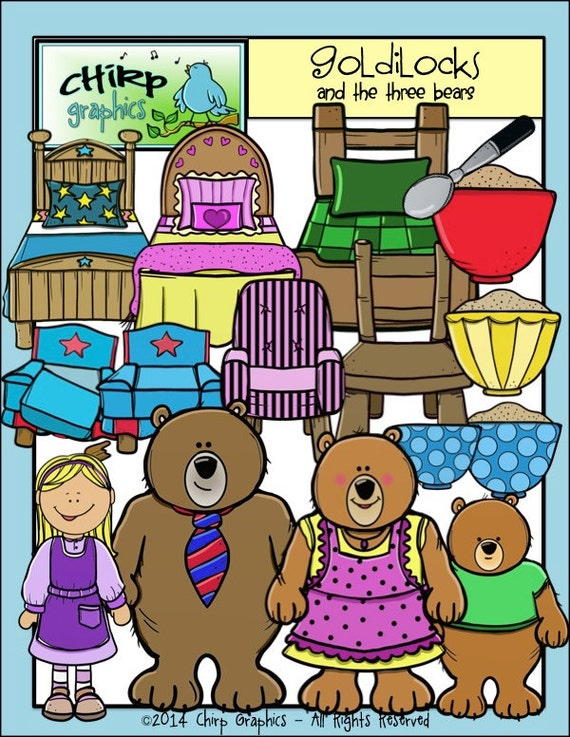 Goldilocks And The Three Bears Clip Art Set By Chirpgraphics