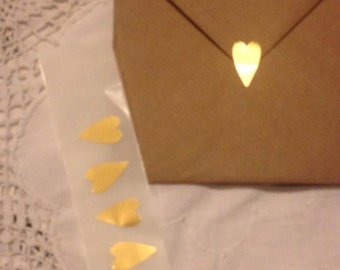 Heart Seals - Large Metallic Gold Heart Envelope Seals For Wedding And Events - Sweet Love stickers x 35