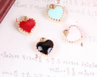 20PCS Enameled Hearts charm pendant,bowknot material,bracelet pendant accessories,jewelry findings,8X8mm