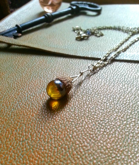 Amber crystal orb acorn necklace