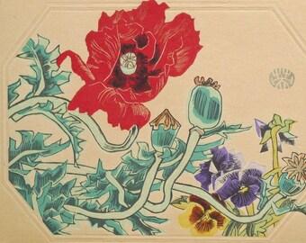 "Ukiyoe, Original Sōsaku-hanga, Woodblock print, antique, Eichi Kotozuka, ""Oriental poppy"""