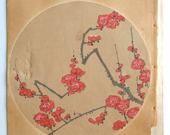 "Japanese antique woodblock print, Ito Jakuchu, ""Japanese apricot, from Jakuchu gafu"""