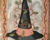 Hand Drawn Rug Hooking Pattern: BITTERSWEET WITCH HAT 16x21