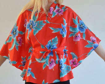 From Hawaii With Love - Vintage 70's Hawaiian Cape Blouse