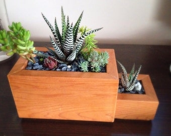 Pop & Tot rectangular succulent tiered modern zen planter reclaimed + choice of pebbles