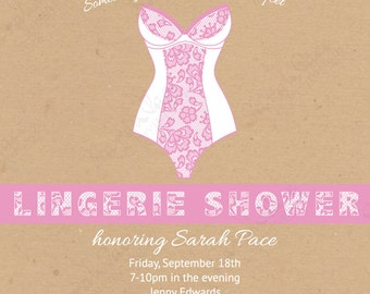Rustic and White/Pink Lace - brown paper Lingerie Shower Invitations