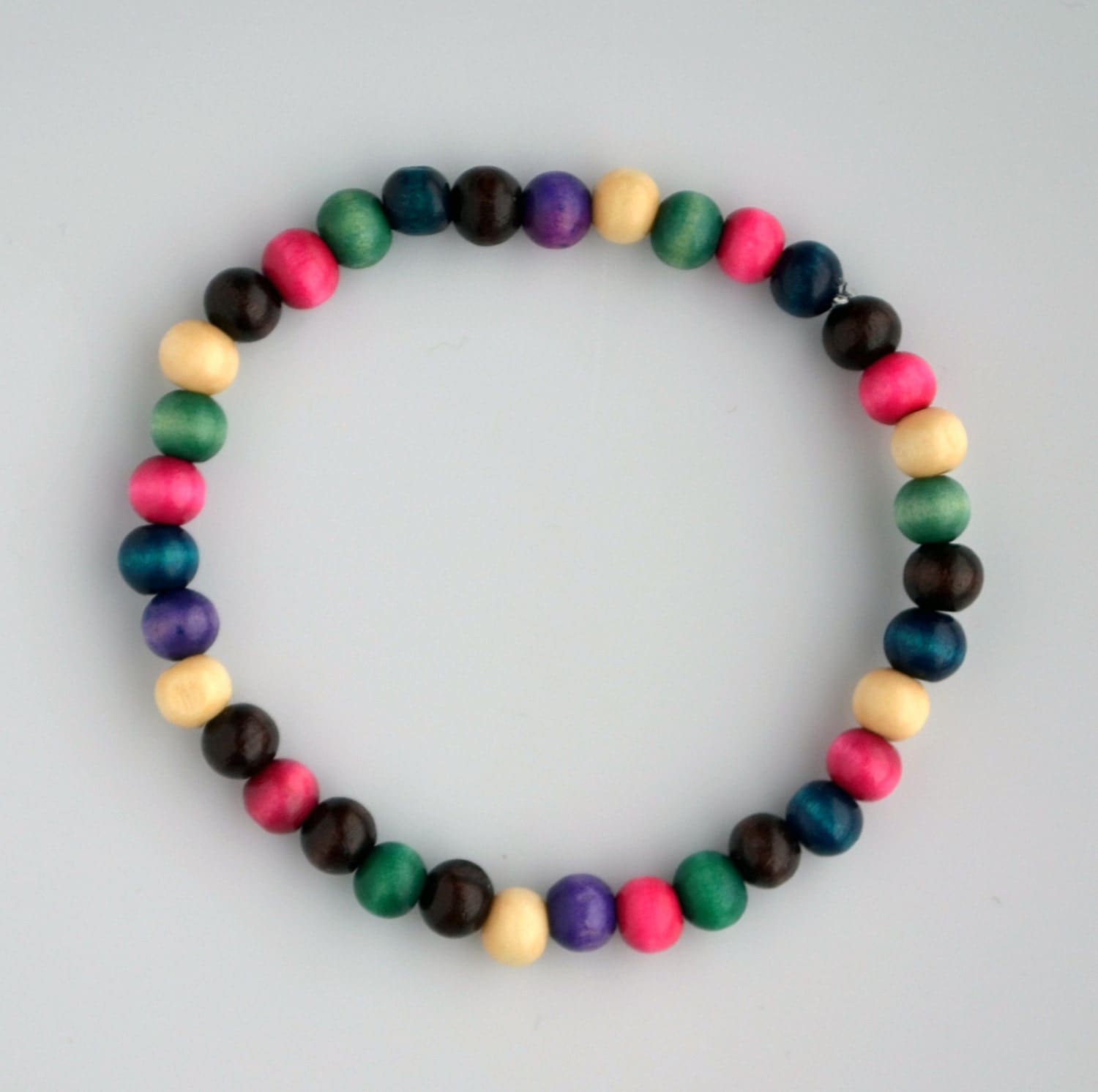 multi colored wooden beaded bracelet