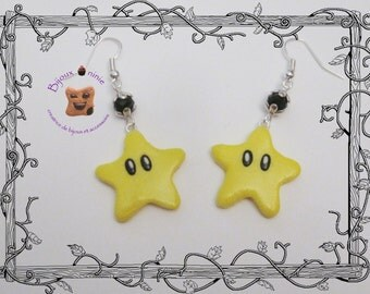 Earrings in polymer clay mario star