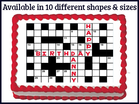Crossword Puzzle Edible Birthday Wedding Party Cake Cupcake