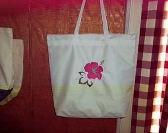 Lined, embroidered beach bag and matching toiwel
