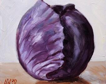 Original Oil Painting Still Life, Purple Cabbage by Aleksey Vaynshteyn