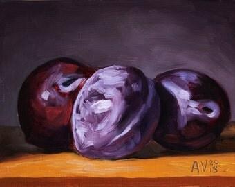 Three Plums Original Oil Painting Still Life by Aleksey Vaynshteyn