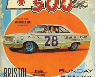 Vintge Reproduction Racing Poster 1964 Bristol Raceway Fred Lorenzen Ford Galaxie
