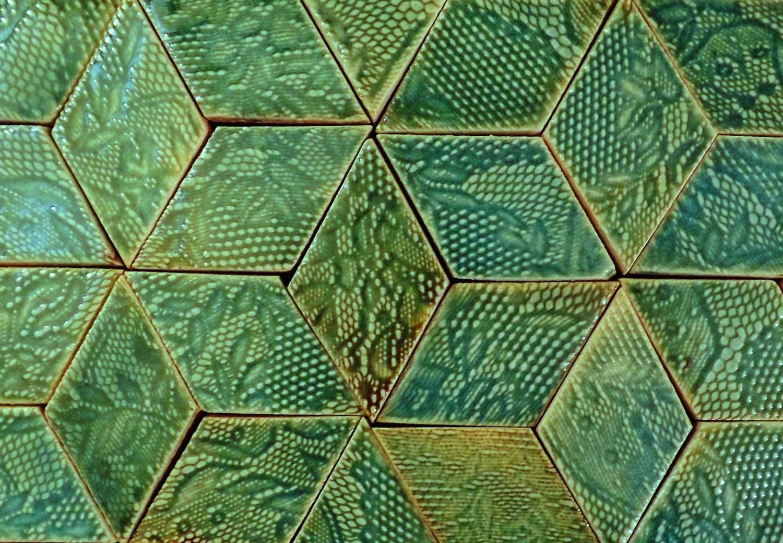 50cm X 50cm Diamond Shaped Handmade Tiles In Aquamarine Glaze