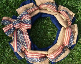 Americana Wreath - Stars and Stripes Wreath - Forth of July Wreath - Front Door Wreath - Flag Wreath - Patriotic Wreath - Summer Wreath