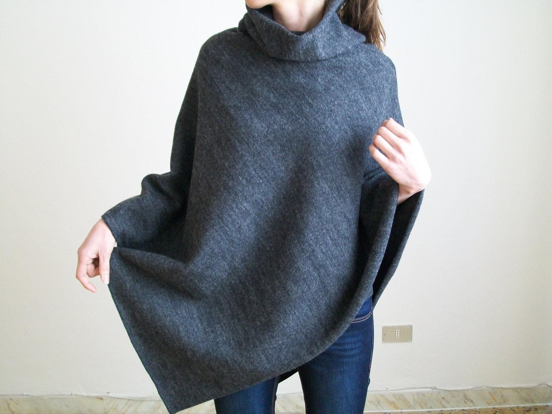 CAPE/ KNIT PONCHO/ Wool Poncho/ Pure New Wool Shawl/