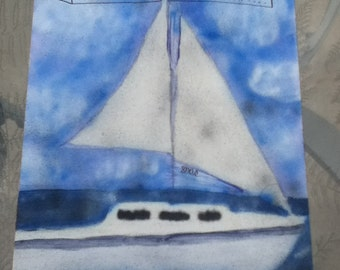 Custom Handpainted Sail Boat Canvas Painting