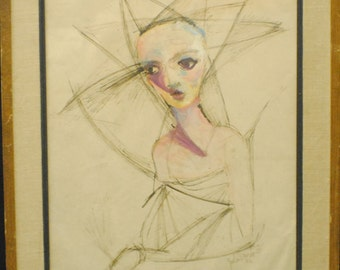 """John Darro """"The Bride"""" mixed media on paper 19"""" x 15 1/2"""", signed and dated 1952"""