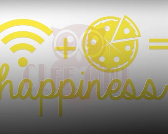 WiFi + Pizza = Happiness Vinyl Sticker Decal