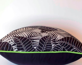 Tropical navy banana palm print with vibrant green piping - 50 x 50 cm cushion cover