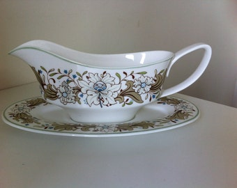 Spode Gravyboat and saucer in milkwood design